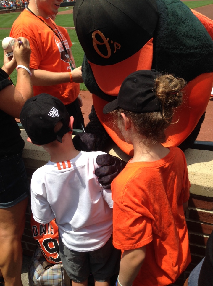 Daddy's favorite past time, The Orioles Bird and an O's game at Camden Yards.  This one was especially special because it was a first for his two boys.