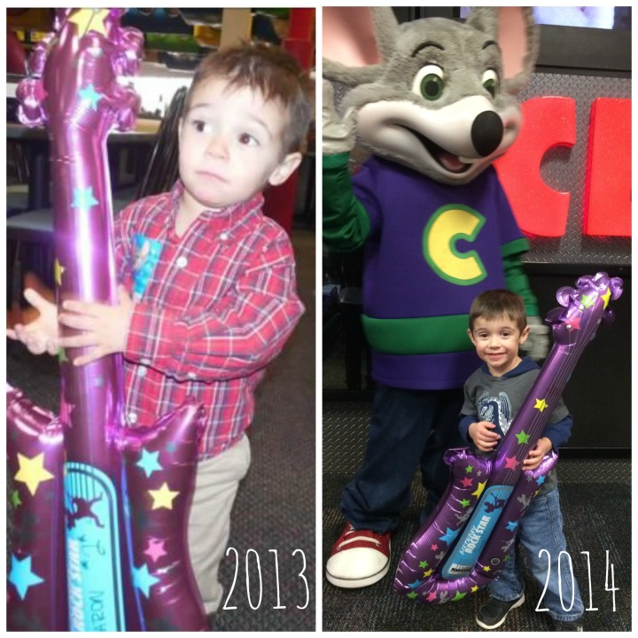 "I mean seriously Aaron, you had to pick the same exact birthday party location??  Aaron's birthday is Nov 28th and while I begged and pleaded him for a different birthday wish...nope.  He said, ""Mommy, this year Chuck E Cheese one more time and then for next year we can go somewhere else.""  Awesome.  Did I mention groundhog day?"