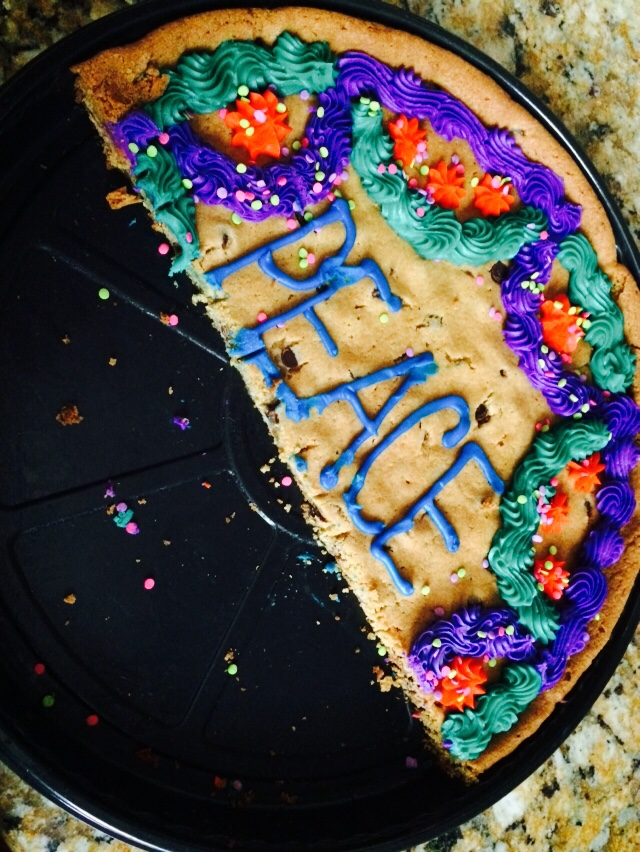 My sweet Sister in Law Nancy dropped off this cookie cake for us to eat after our ultrasound with Samuel.  We sat down, prayed a huge prayer of thanks, and dug in.  Peace never tasted so good.
